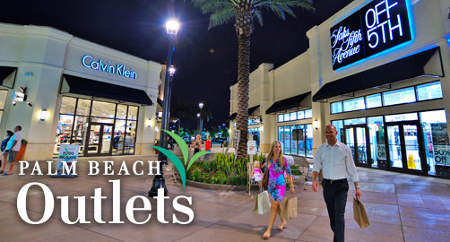 Palm Beach Outlets will be on your right. From Florida's Turnpike/Western Communities: Go east on Okeechobee Boulevard to Palm Beach Lakes Boulevard, then turn left and follow for miles. Palm.